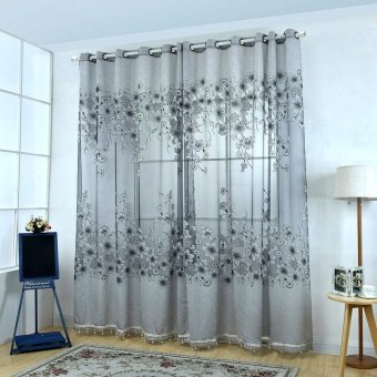 Floral Morning Glory Brilliant Flower Tulle Curtain Beautiful House Decor Door Blackout Window Curtain with Beads Grey - intl