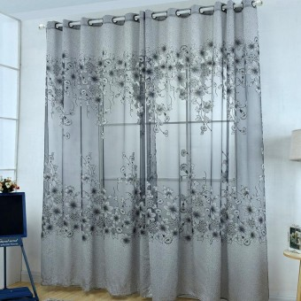 Gethome 1pc 100*250cm Floral Semi-blackout Curtains Window Living Room Decor Curtain - intl