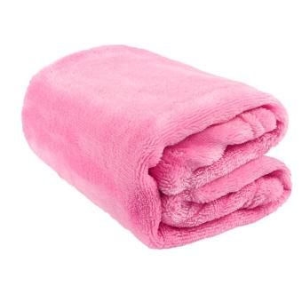 Gorgeous Flannel Fleece Blanket Cozy Couch Solid Color Bed Blanket (Pink) - intl