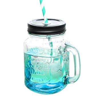 Gradient Cup Bar Mason Jam Jar Drinking Blue(Export) - Intl