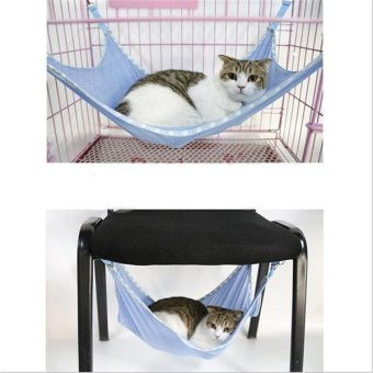 Hang-Qiao Pet Cat Mesh Hammock Cage Hanging Bed Blue - Intl