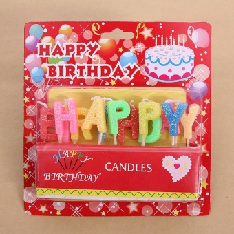 HAPPY BIRTHDAY Letters Candles Set Birthday Cake Decoration Candles Glitter Surface - intl