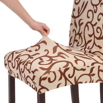 High Quality Stretch Removable Washable Short Dining Chair Cover Soft Milk Silk Spandex Printing Chair Cover Slipcover for Wedding Party Hotel Dining Room Ceremony Chair Seat Covers - intl