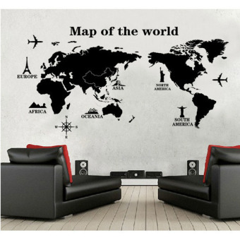 Harga Map of the World Removable PVC Decal Wall Sticker Home Decor Art Hot