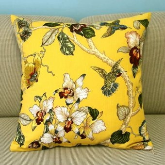 "Yellow Pillow Case Sofa Decor Cushion Cover Square 18"" Birds Flower & Tree PT176"