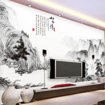 Harga Chinese landscape painting style elegant living room cozy bedroom wall stickers decor removable waterproof sticker wallpaper