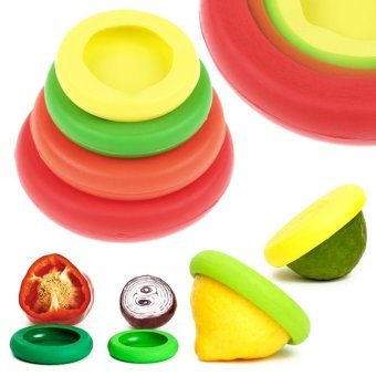 Harga Fancy 4Pcs/Set Size Flexible Silicone Fruit Food Huggers Storage Covers Cup Lid - intl