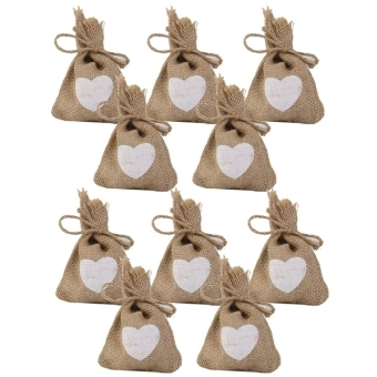 Harga 10PCS Print Linen Jute Sack Pouch Drawstring Gift Bags Candy Bags Wedding with Heart Pattern(Export)(Intl)