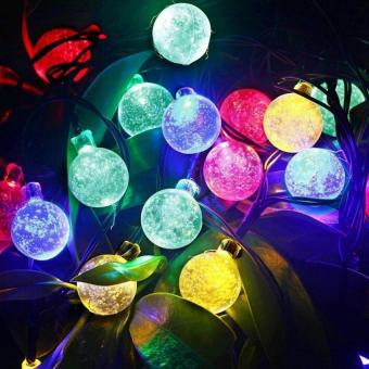Harga 8M 50LED Waterproof Crystal Ball Solar Powered String Lights 2V 160mA for Outdoor ard Garden Path) Chrismas Day Landscape Decoration 8 Modes-Flash(600ma Colourful