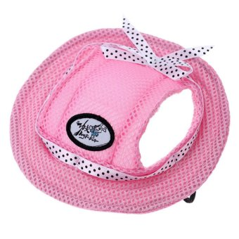 Harga BolehDeals Pet Dog Cat Kitten Princess Mesh Strap Hat Cap Sunbonnet Size M - Pink (EXPORT)