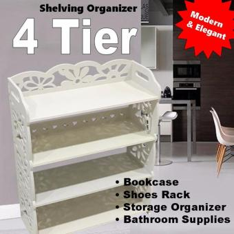 Harga 4 Tiers White Storage Organizer Shoes/Book Rack