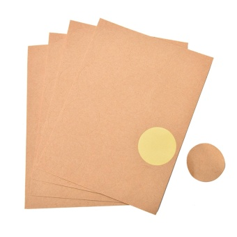 Harga 8sheet Kraft Scalloped Round Stickers Blank Wedding Favours Labels Rustic Craft Round - intl