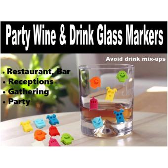 Harga 12 Pieces Silicone Wine Charms Drink Glass Markers