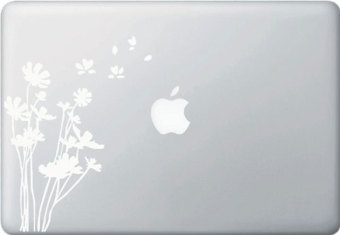 Harga niceEshop White Flowers In The Wind Vinyl Decal Stickers for Apple Macbook Or Laptop (White)