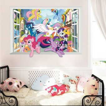 Harga Yika My Little Pony 3D Window Decal Graphic Kids WALL STICKER Art Mural Pinkie Pie - intl
