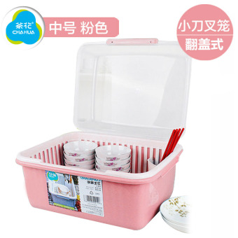 Harga Put the dish rack dish rack plastic large camellia dishes kitchen basket drain rack tableware storage box with lid
