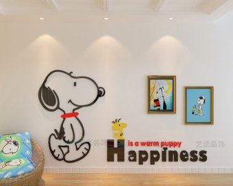 Harga Snoopy cartoon 3D three-dimensional wall stickers kindergarten children's room living room bedroom bedside TV background decorative wall stickers
