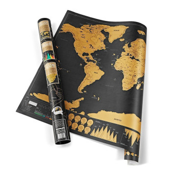 Harga CatWalk Deluxe Travel Edition Scratch Off World Map Poster Personalized Journal Log Gift (Black)