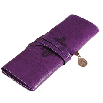 Harga Retro Vintage Roll PU Make up Cosmetic Pencil Case Purple(Export)(Intl)