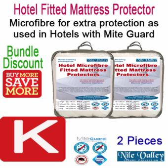 Harga Nile Valley's Hotel Microfiber Fitted Mattress Protector. 2 Pieces. Sleep Safely