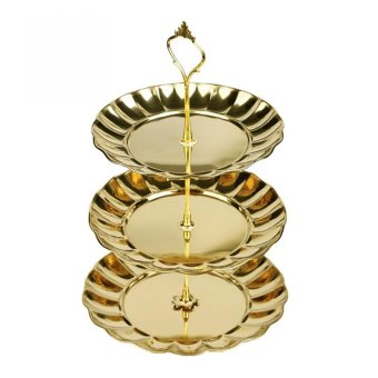 Harga PAlight Cake Desserts Fruit Plates Stand (3 Layer gold)