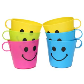 Harga 6 Plastic Colorful Happy Smiley Mugs Cups With Handle Home Party Travel Camping