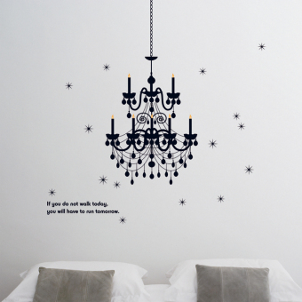 Harga Large living room bedroom dining room decorative wall stickers can be removed from the paste paper beautiful chandelier wall stickers can be removed