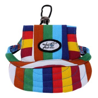 Harga BolehDeals Small Pet Dog Cat Kitten Rainbow Baseball Hat Strap Cap Sunbonnet M (EXPORT)