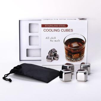 Harga Loveu Store 4 Pcs Gift Box Packing Cooling Ice Cubes Food Grade Stainless Steel Reusable Wine Cooling Cubes, Whiskey Chilling Rocks, Whisky Ice Stones and Sipping Stones - intl