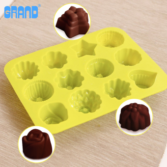 Harga Blue high with muffin cup diy baking tools twelve silicone jelly pudding mold cake pan with oven