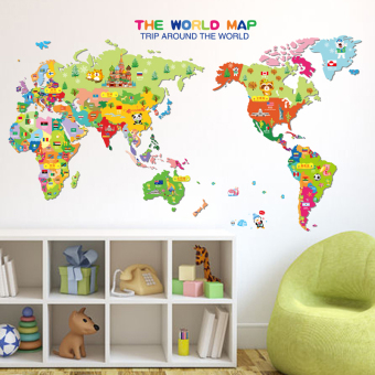 Harga Removable wall stickers cartoon children's room nursery wall decor den library map of the world