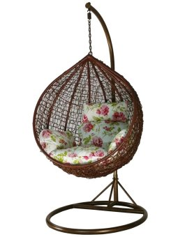 Harga Amber Initial Coffee Rattan Swing Chair with Peony Flower Cushion Cover