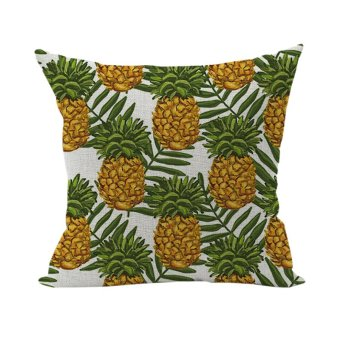 Nunubee Colorful Pattern Cotton Linen Home Square Pillow Decor Throw Pillow Case Sofa Cushion Cover Pineapple