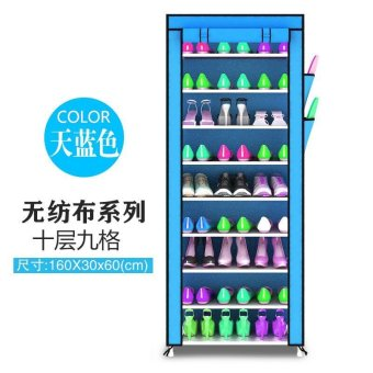 Harga Prado Home Korean 10 Tier Shoe Rack DIY Stackable Dust Cover Cabinet - intl