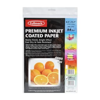 Harga Fullmark Premium Inkjet Coated Paper (Photo Paper), A4 size, 21cm X 29.7cm each (1 Pack, 100 sheets per pack) - compatible with HP, Canon, Epson and all leading inkjet printers