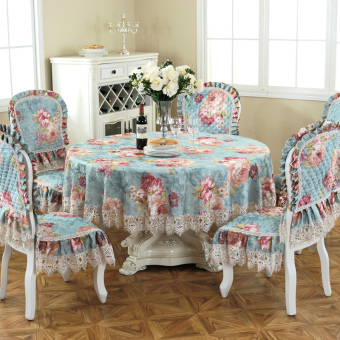 Harga Wanheng Sheng American chenille European tablecloth dining chair set tablecloth chair cover cushion suit TV cabinet tablecloth