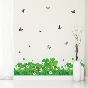 Harga Yika PVC Removable Four Leaf Clover Butterfly Wall Sticker (Multicolor)