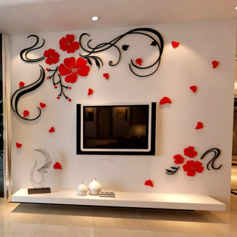 Harga 3D flowers crystal acrylic wall sticker