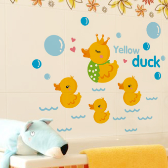 Harga Sticker wall stickers cartoon children's room bedroom cute little yellow duck bathroom swimming pool edge tile glass stickers