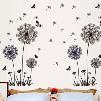 Harga Dandelion Wall Art Decal Sticker - Black - intl