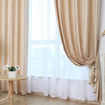 Harga Solid Grommet Window Curtain Foam Lined Beige