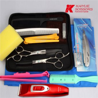Harga Excelle japan imported plum handle barber scissors hairdressing scissors flat cut barber scissors package home