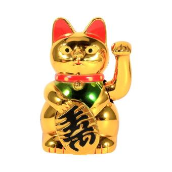 Gold Waving HandWelcoming Cat Good Luck Feng Shui Decoration - intl