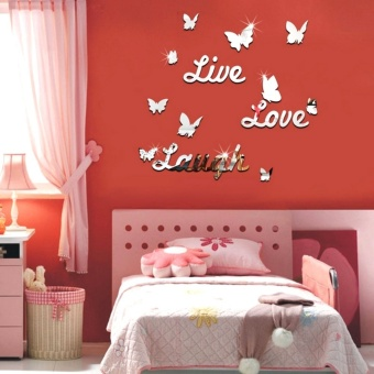 Harga Removable Butterfly Words Silver Vinyl Wall Decal Stickers Mirror Effect Decor Art - Intl