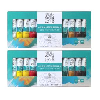 Harga 2 box of 12 color Acrylic Paints ( Free gift canvas panel )