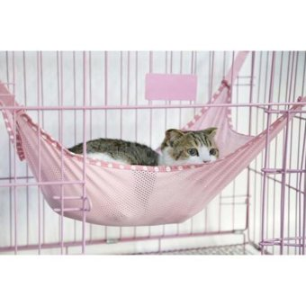 Harga Hang-Qiao Pet Cat Mesh Hammock Cage Hanging Bed Pink