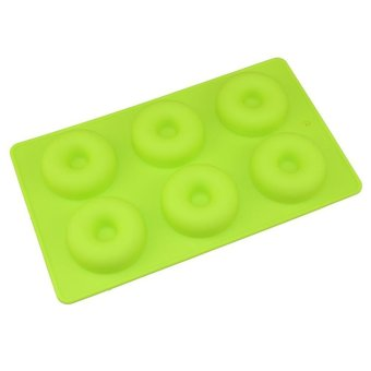Harga LALANG 6 Holes Doughnut Silicone Baking Pan Cake Mould Candy Mold (Green) - intl