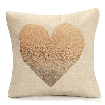 Vintage Love Heart Cotton Linen Cushion Cover Throw Pillow Case Sofa Home Decor - intl