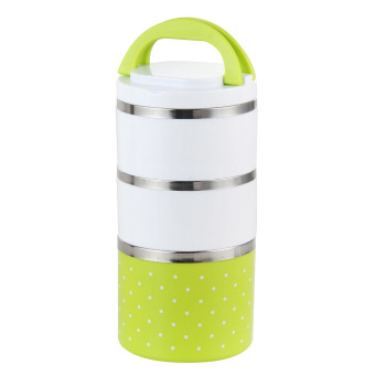 Harga 1230ml Dots Stainless Steel Insulation Bento Lunch Box (Green)