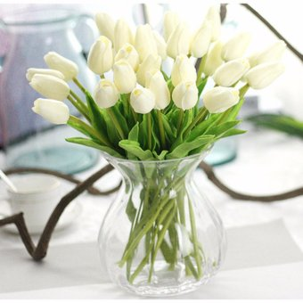 Harga 10pcs/set Tulip Artificial Flowers PU Fake Simulation Flower Plants for Wedding Home Decoration(White) - intl